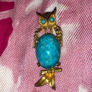 Antique Hattie Carnegie Turquoise jade blue glass Belly Owl Brooch Pin